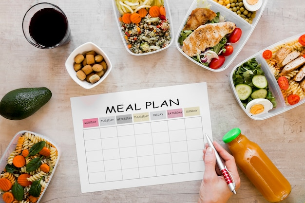 Close-up hand with meal plan
