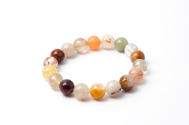 Close up of handmade moonstone, color stone, stone bead created bracelet