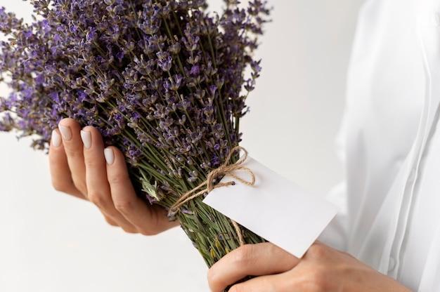 Close up hands holding lavender