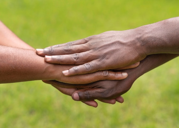 Close up hands holding outdoors