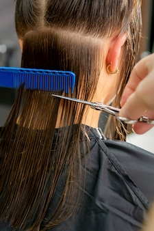 Close up of hands of male hairdresser cutting long hair of young woman