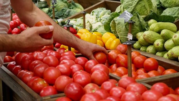 食料品店の労働者のクローズアップの手が店の棚に有機野菜を並べています。スーパーマーケットの有能な部門