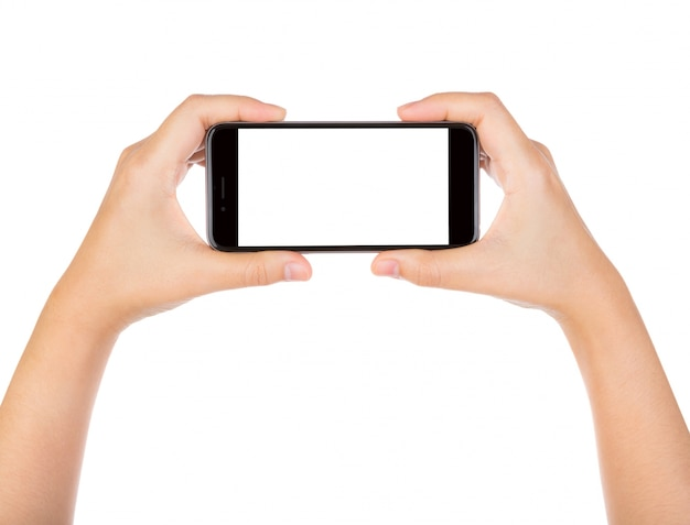 Close-up of hands using a smartphone
