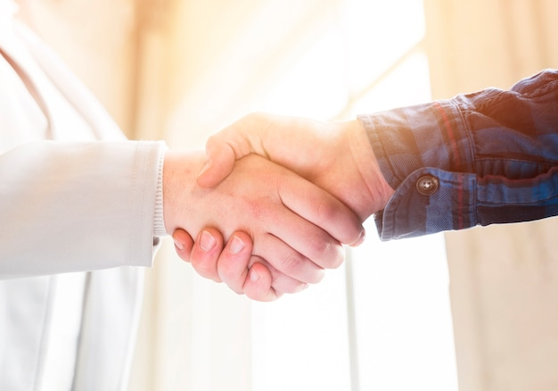 Close-up of handshake of business partners in office