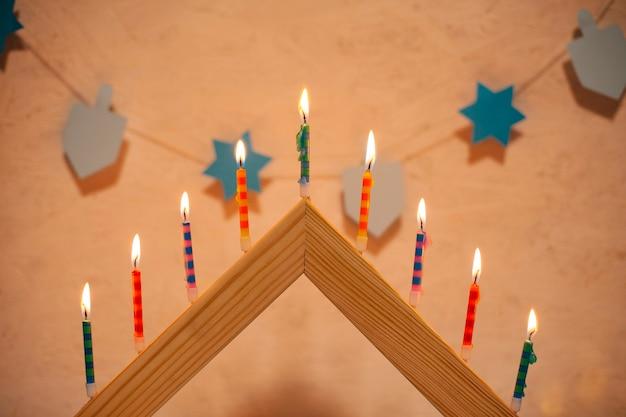 Close-up hanukkah burning candles