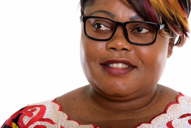 Close up of happy fat black woman smiling