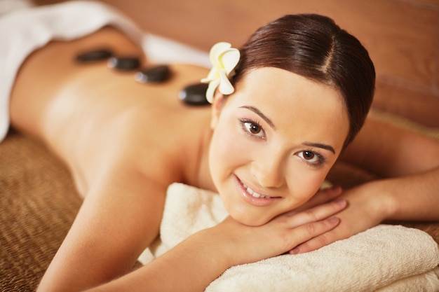 Close-up of happy woman in a luxury therapy