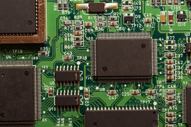 Close up of hard disk controller board. it detail in computer