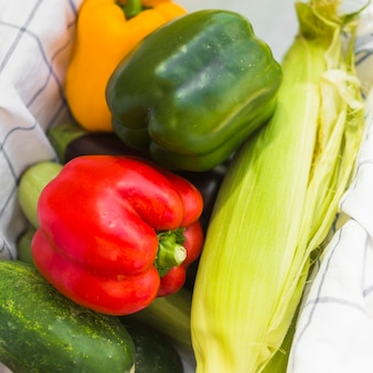 Close-up of harvested bell peppers; corn and cucumber