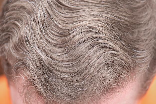 明るい茶色の髪を持つ男のクローズアップの頭