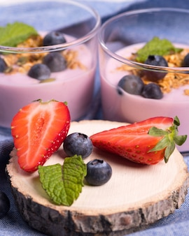 Close up of a healthy breakfast made with fresh berries