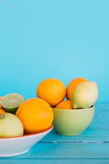 Close-up of healthy citrus fruits in bowl