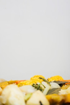 Close-up of healthy food on white background