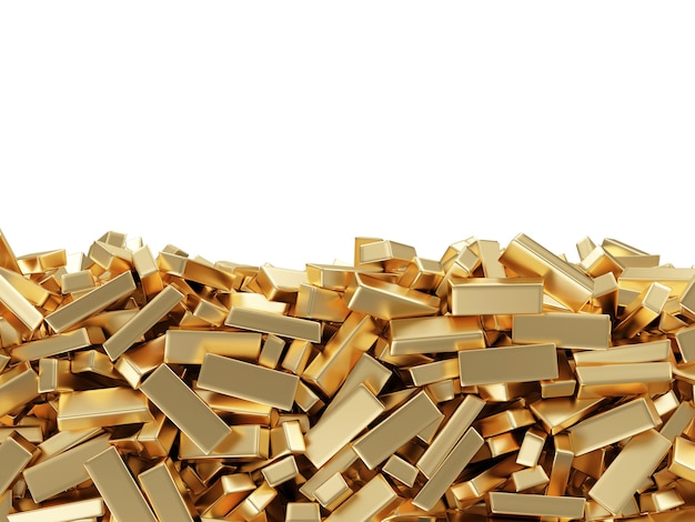 Close up on heap of golden bars isolated