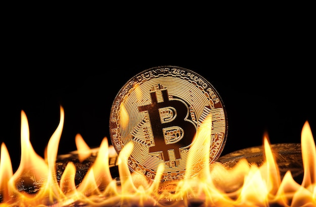 Close up heap of golden bitcoin physical coins burning in fire flames over black background, as symbol of economy crisis, decline and cryptocurrency market in danger