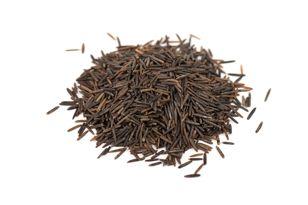 Close-up of a heap of wild rice isolated on white