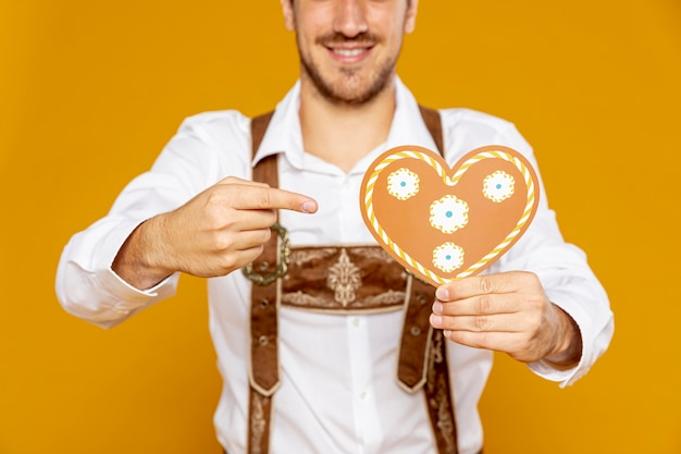 Close-up of heart shaped gingerbread
