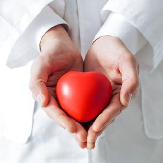 확대. 심장 기호는 의사의 손에 있습니다. 건강 보호의 개념.