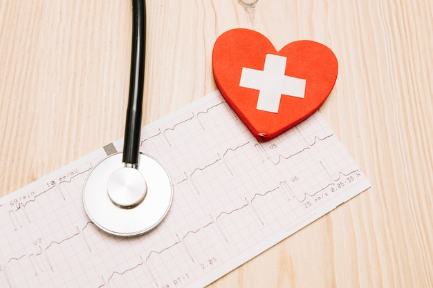 Close-up heart with cross and stethoscope on cardiogram