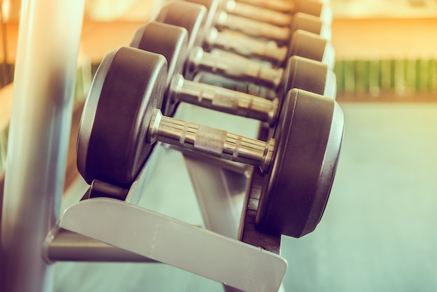 Close-up of heavy dumbbells