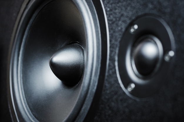 Close up of high and low frequency speakers, membrane audio speaker