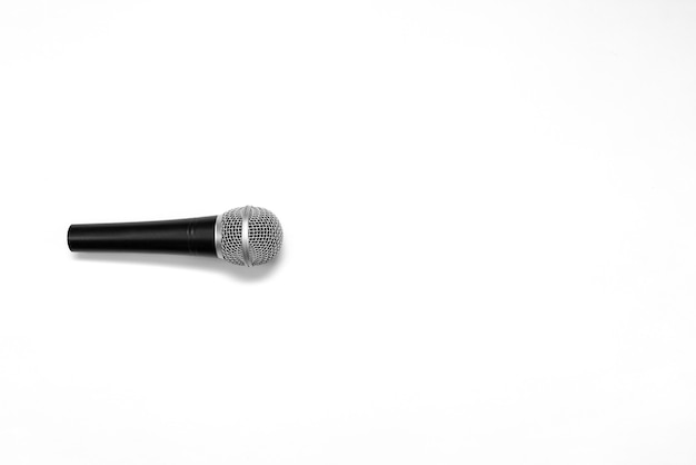 Close up of high quality dynamic microphone isolated on white background