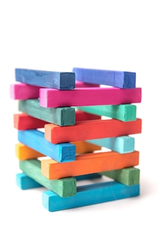 Close up of hight colorful chalks tower