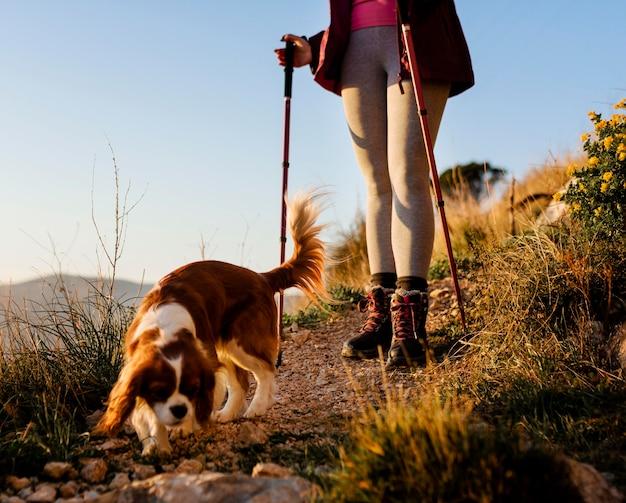 Chiuda in su escursionista con simpatico cane