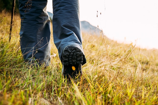 Close up of hikers legs