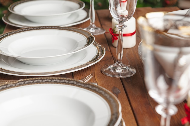 Close up of holiday table setting modern interior