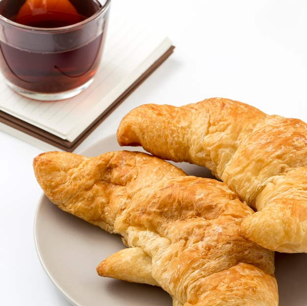 Close-up homemade croissants on a plate