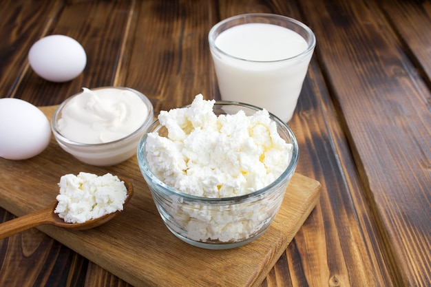 Close up on homemade farm dairy products