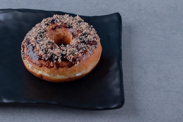 Close up of homemade fresh chocolate donut