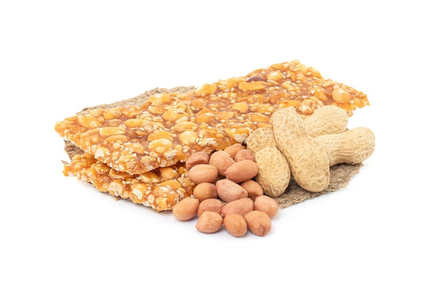 Close up of honey bars with peanuts isolated on a white space with clipping path.