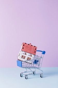 Close-up of house model in shopping cart