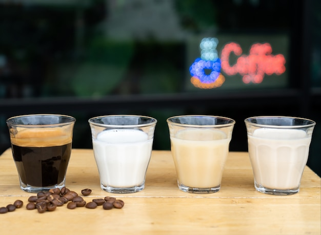 Close-up how to make ice latte coffee, the ingredients espresso and milk