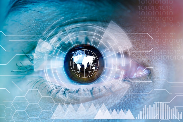 Close up human eye with futuristic technology graphics
