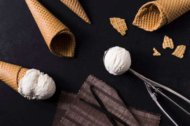 Close-up ice cream cones with gelato