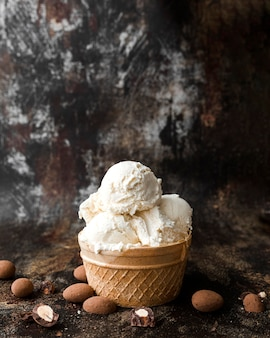 Close-up ice cream with nuts