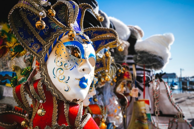 Close-up image of a beautiful venetian mask