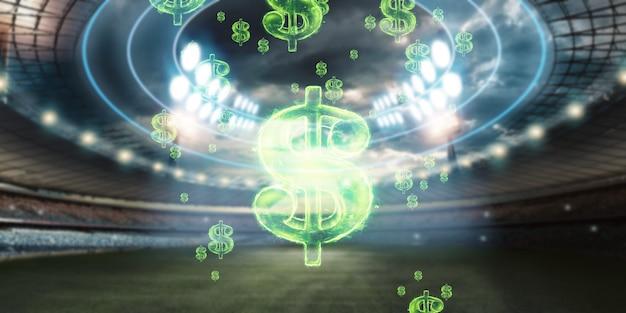 スタジアムを背景にした米ドル記号のクローズアップ画像。スポーツくじ、賭け、ギャンブルから利益を得るという概念。アメリカンフットボール。