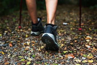 Close-up image of woman wearing trekking shoes
