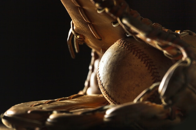 Close up image of an old used baseball
