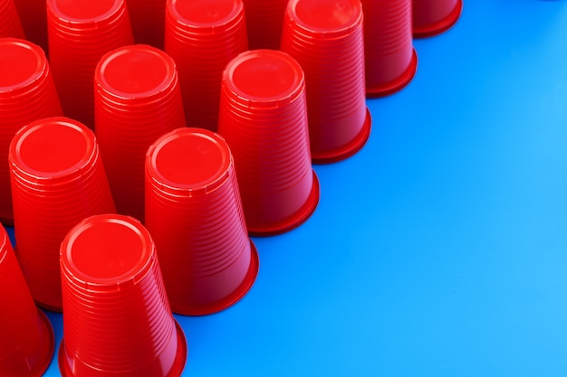 Close up image of red plastic cups