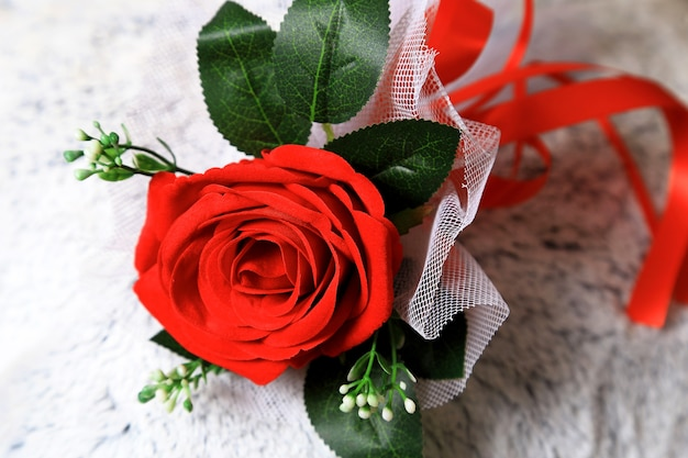 Close Up Image Of Red Roses On White Texture Background Valentines And Love Concept Premium Photo