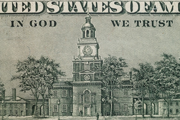 Close up of image on reverse of united states hundred-dollar bill.
