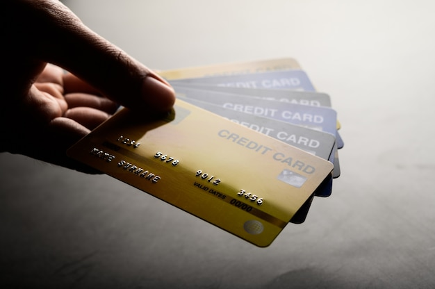 Close-up images of multiple credit card handsets