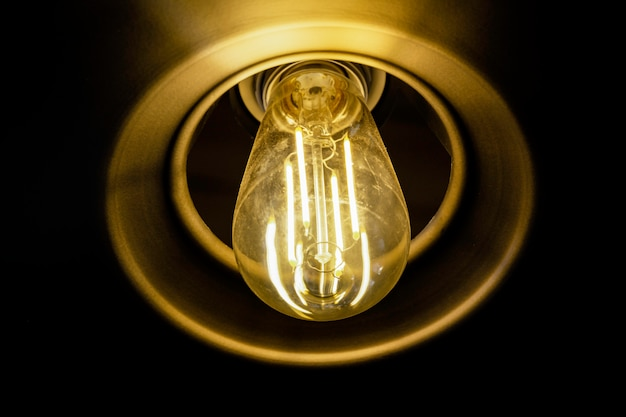 Close up incandescent lamp shining