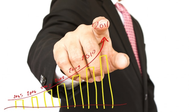 Close-up of index finger with a hand-drawn graph