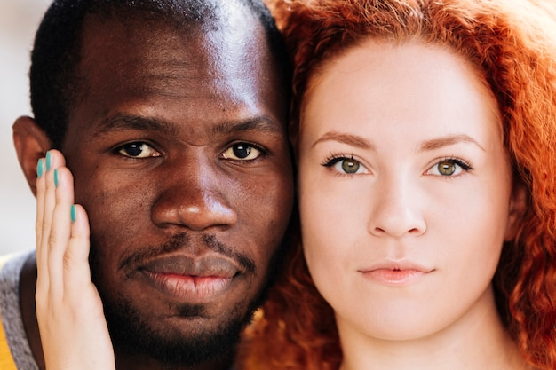 Close-up of interracial couple